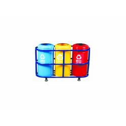 Profil Standlı Boyalı 3'lü Geri Dönüşüm Çöp Kovası